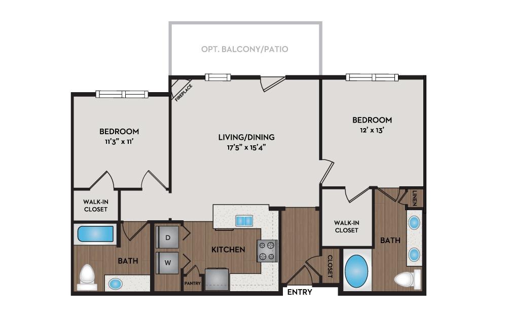 Adobe 2 Bed 2 Bath Floorplan
