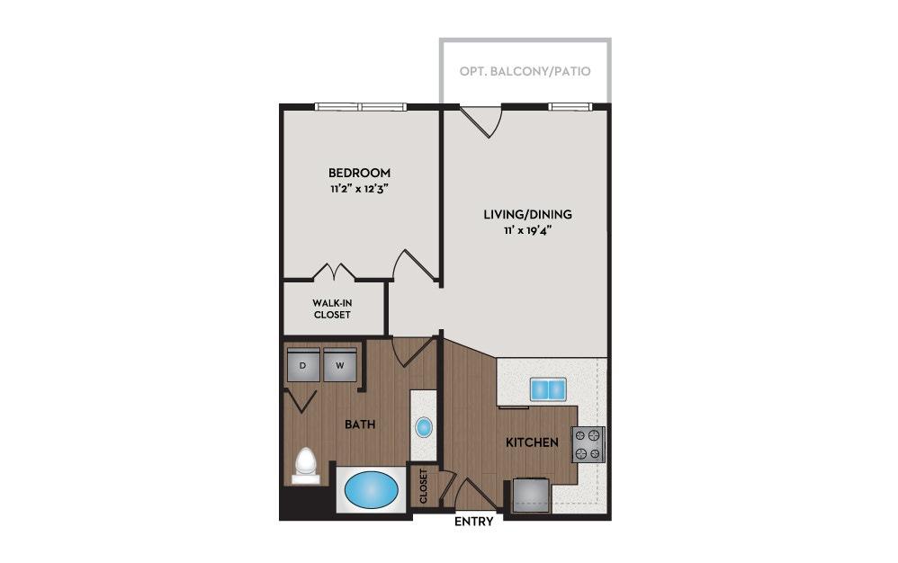 Cabin 1 Bed 1 Bath Floorplan