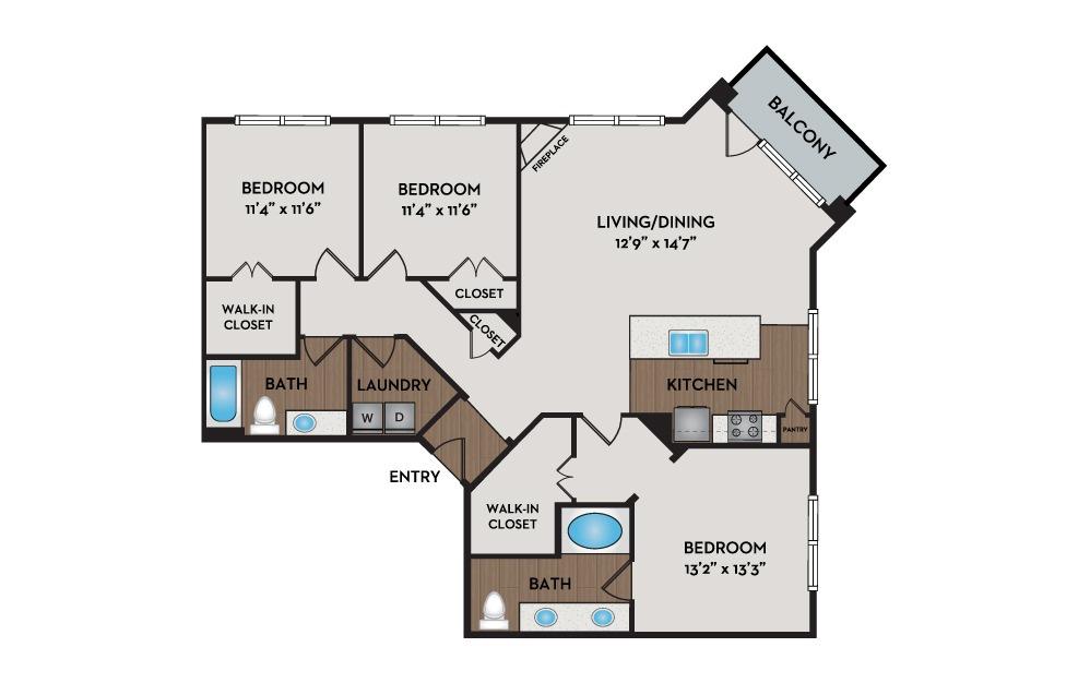 Castle 3 Bed 2 Bath Floorplan