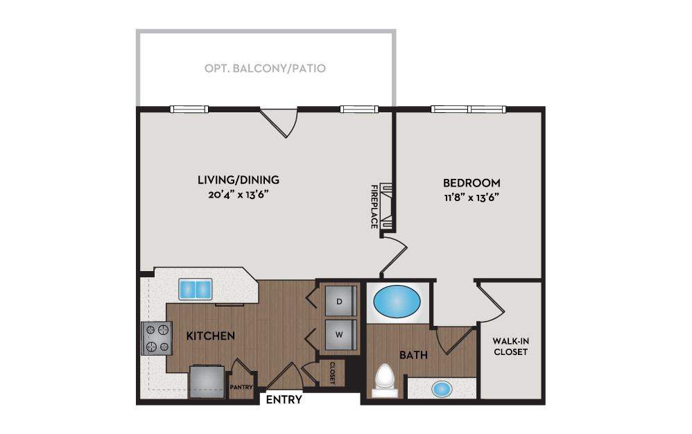 Cottage 1 Bed 1 Bath Floorplan