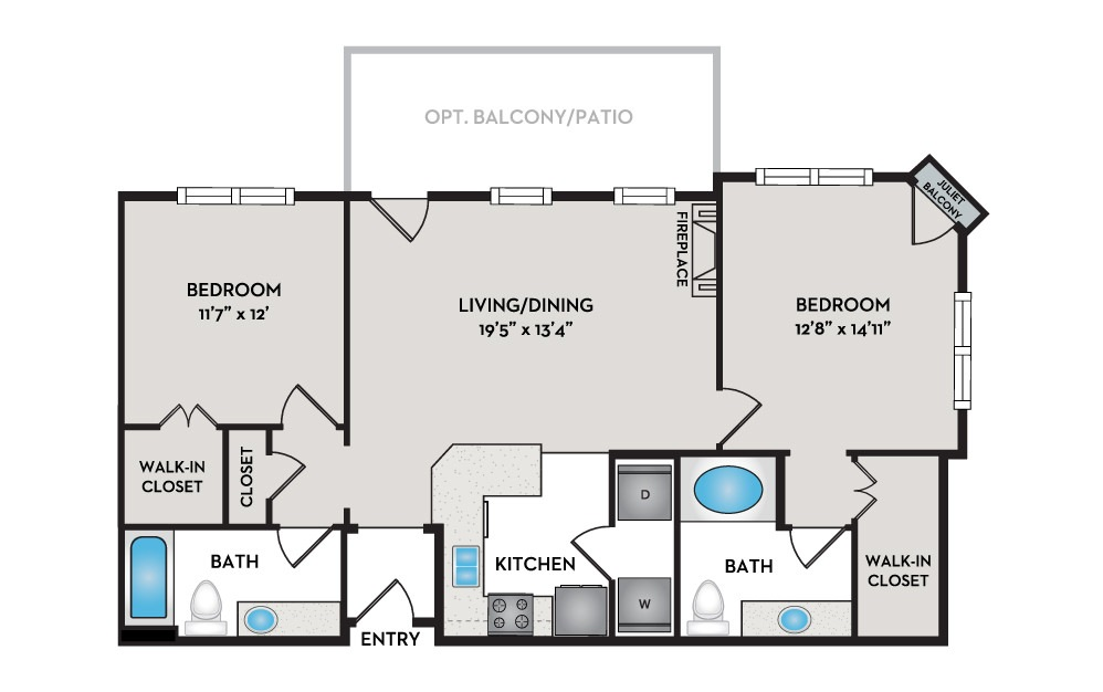 Flat 2 Bed 2 Bath Floorplan