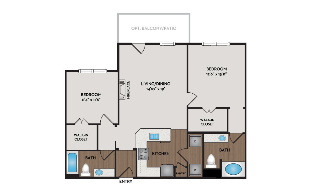 Haven 2 Bed 2 Bath Floorplan