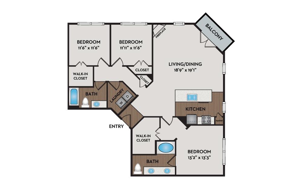 Mansion 3 Bed 2 Bath Floorplan