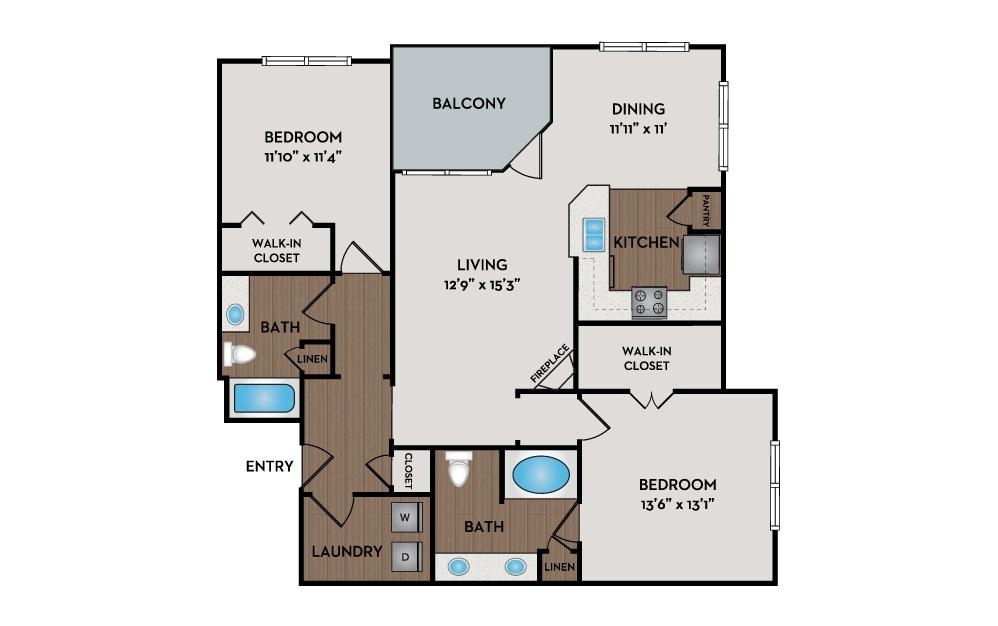 Villa 2 Bed 2 Bath Floorplan